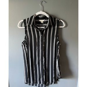 Divided black and white striped tank size 4